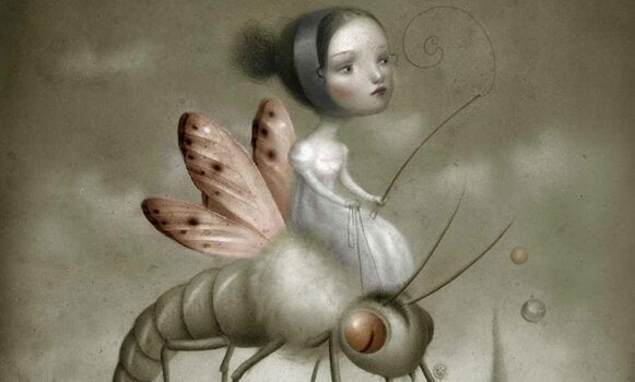 En jente i en fantasiverden som rir på et insekt med vinger