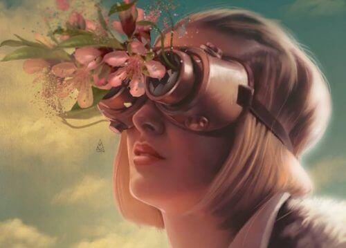 Kvinne med kikkert full av blomster
