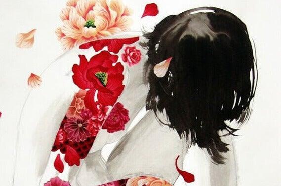 Kvinne og blomster