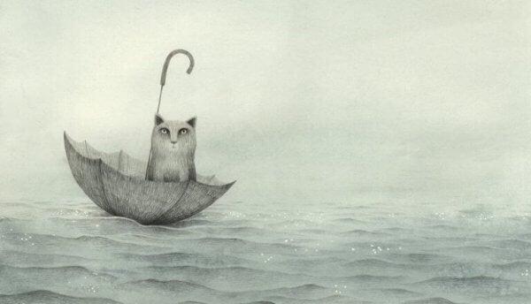 Franzesca Dafne kunst: katt i paraply