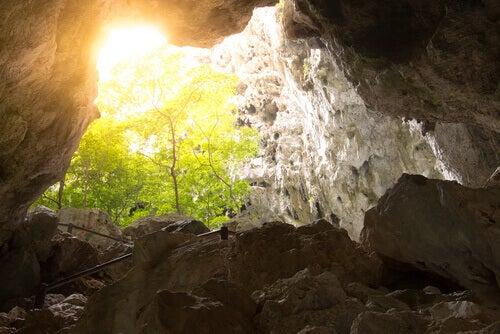 en hule med lys som skinner inn