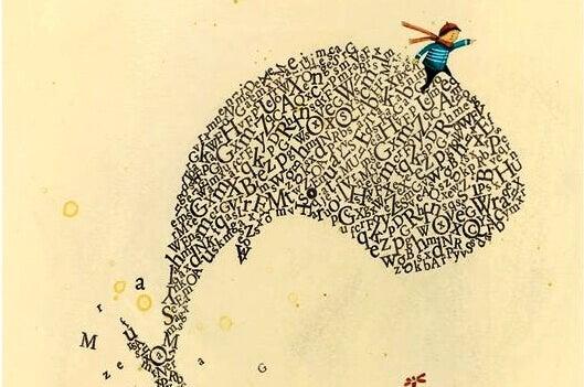 en gutt som rir en hval av bokstaver