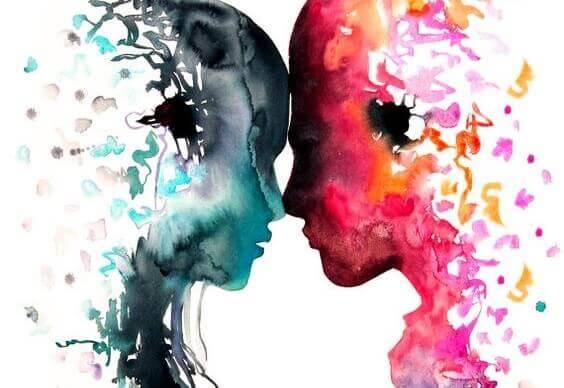 Mann og kvinne i akvarellfarger