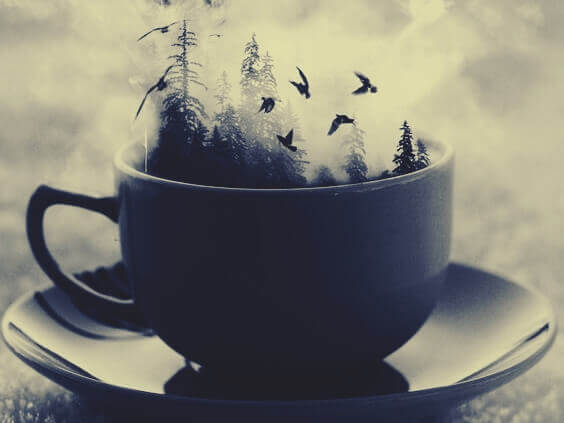 Kopp med skog og fugler