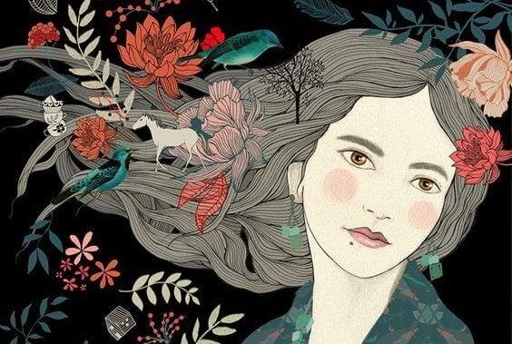 Tegning av en kvinne og blomster