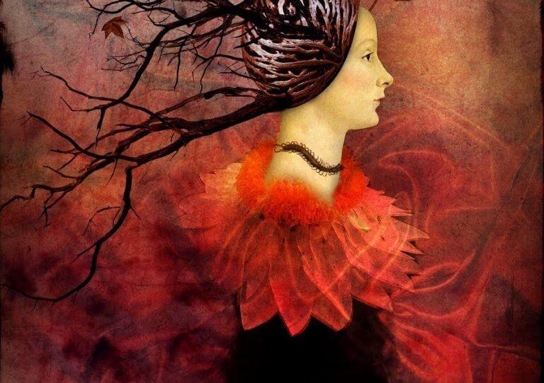 En kvinne i rødt
