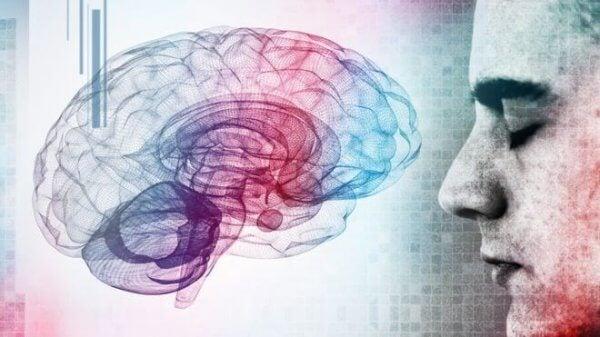 En mann og en hjerne