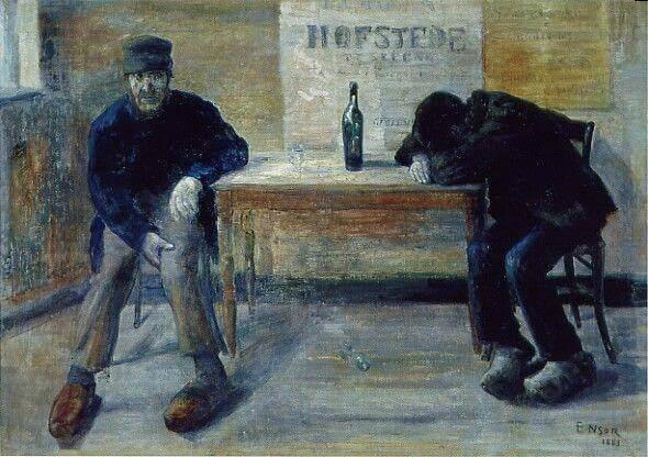 Maleri av menn som drikker