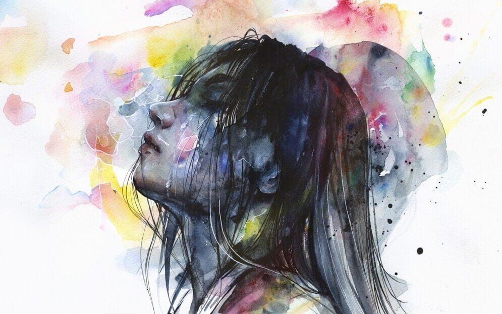 Akvarellmaling av kvinne