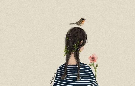 Jente med fugl på hodet