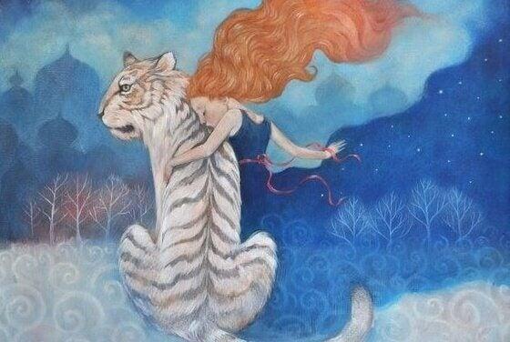 Kvinne og tiger