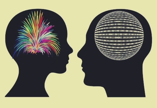 Fargerik hjerne og hjerne med tall
