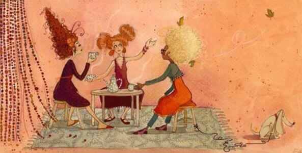 Venner drikker kaffe sammen
