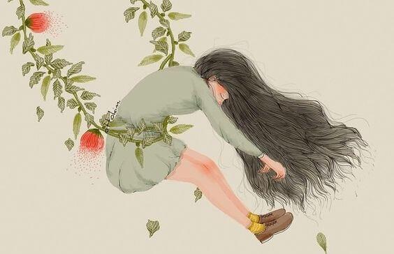 Jente i blomsterhuske