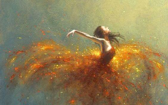 Jente med glitrende kjole danser