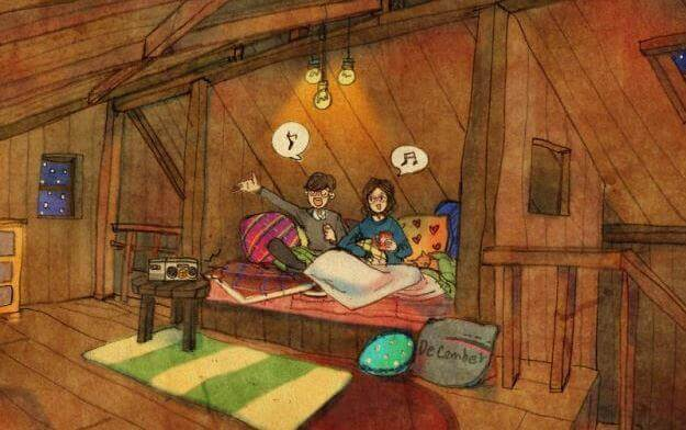 Søsken synger i sengen