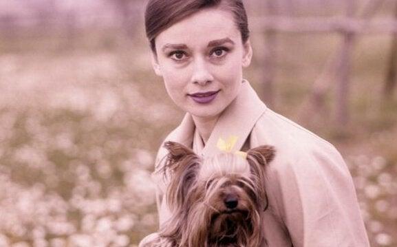 Audrey Hepburn med hund