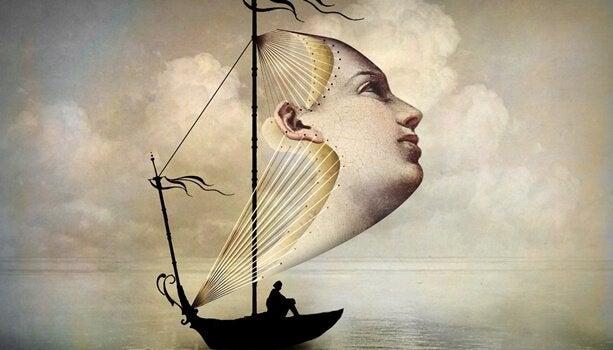 Båt med ansikt som seil
