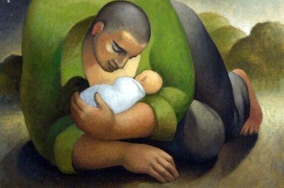 Far med sitt barn