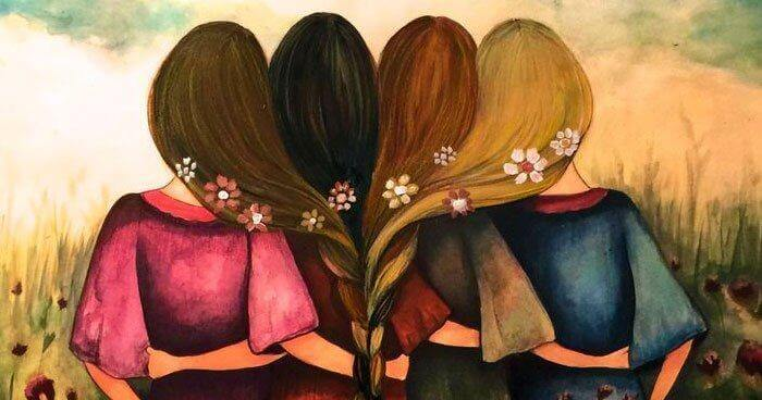 Fire kvinner med håret flettet sammen