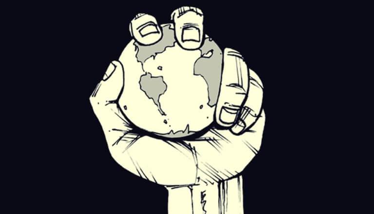 Hånd som holder jordkloden