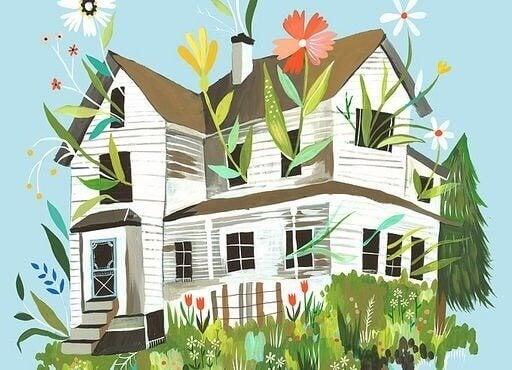 Et hus med ting som vokser i det