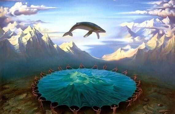 En hval som hopper på en stor trampoline