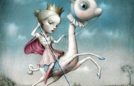 en jente på en ponni med en krone