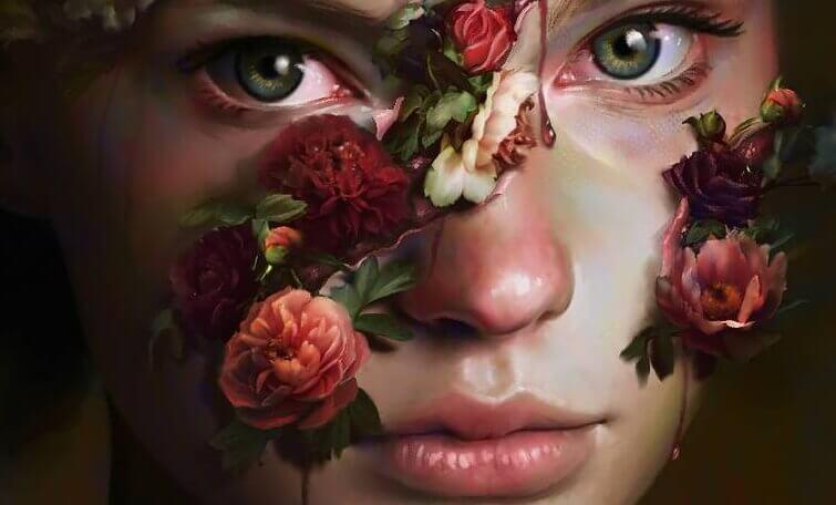 En jente med blomster kommer ut av ansiktet hennes.