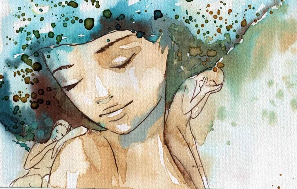 En kvinne malt i akvarell har øynene lukket.