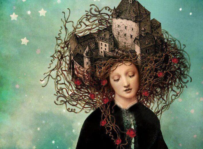 Kvinne med slott i håret