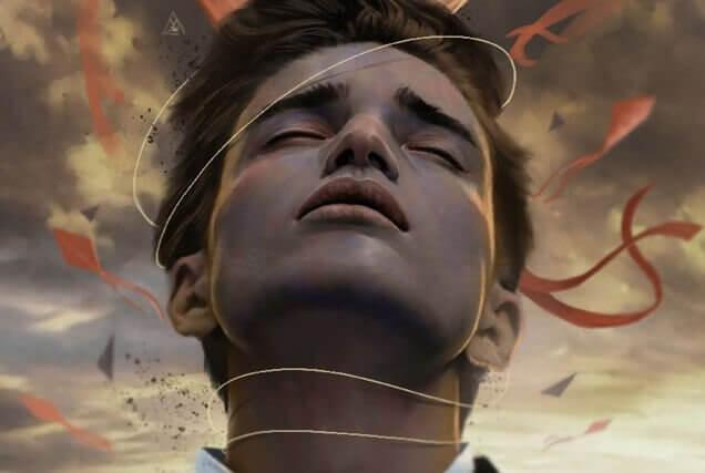 En gutt med en streng rundt halsen hans.