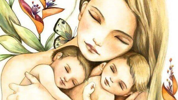 Mor med sine barn
