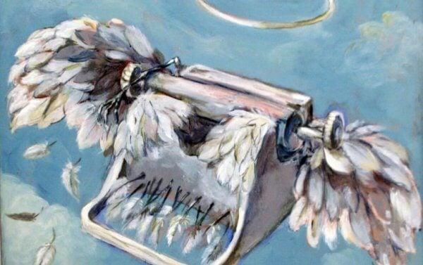 Skriver med fjær flyr