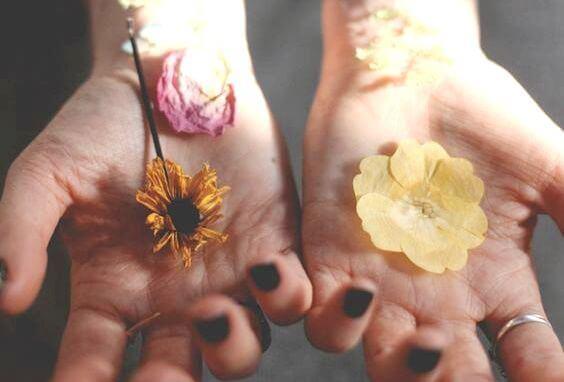 Hender med blomster