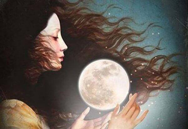 En kvinne og månen.