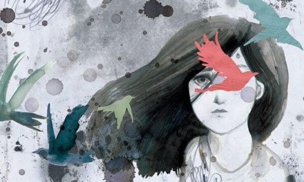 Tvil som avbildet som en jente og fugler.