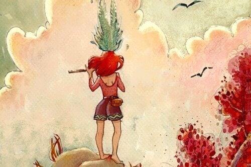 Jente på toppen av en ås spiller en fløyte