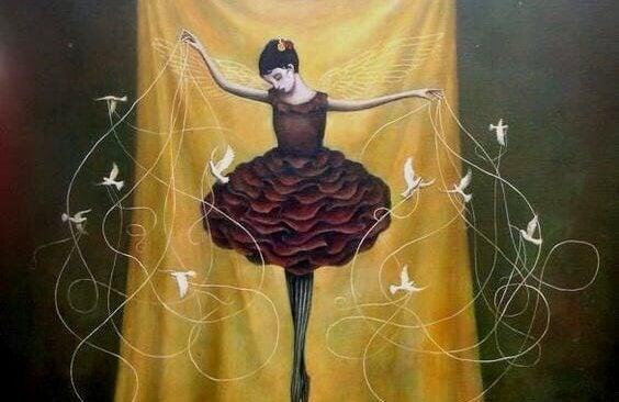 En ballerina danser med mange fugler.