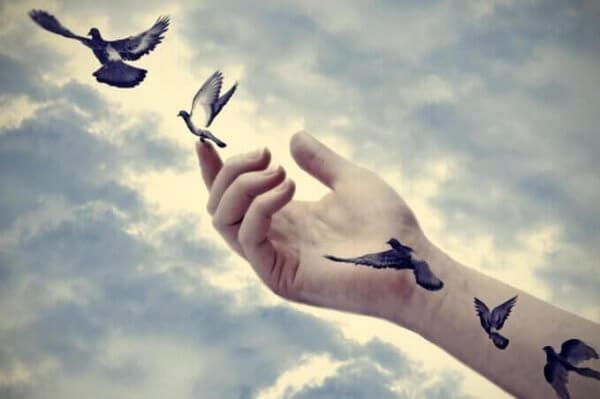 Fugler som letter fra en hånd