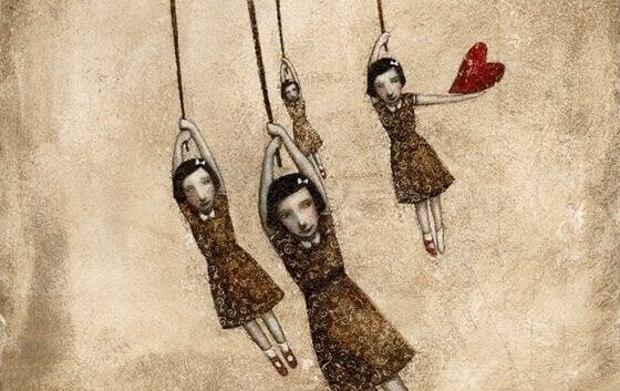 Fire jenter som henger i tau