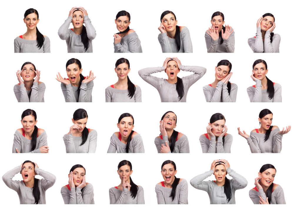 Emosjoner uttrykt med ansikt og bevegelser.