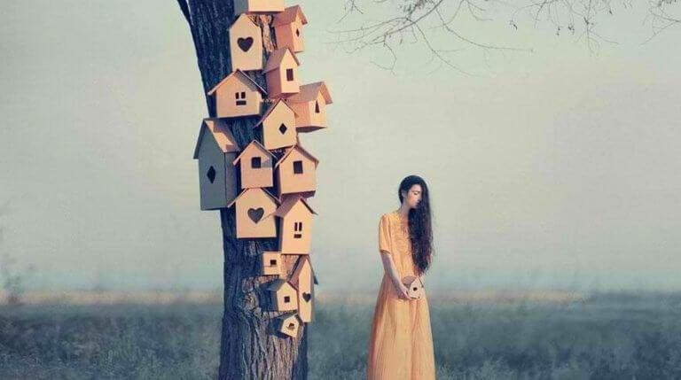 En kvinne ved siden av mange fuglehus