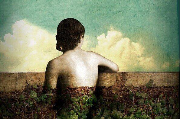 Maleri av en jente som sitter ved en mur