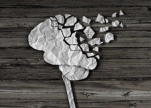 En hjerne brutt i stykker.