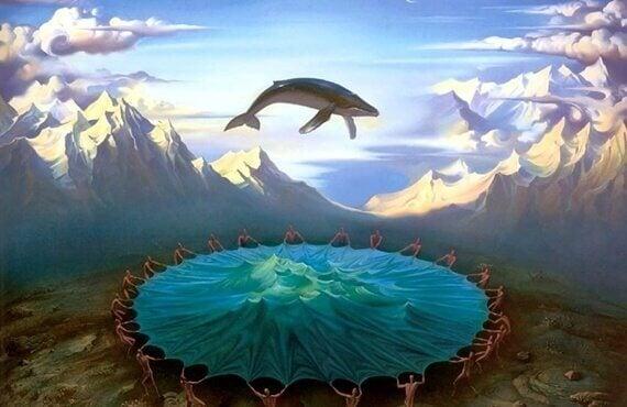 En flygende hval i fjellet.