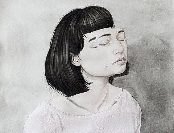 En jente har et dobbelt ansikt.