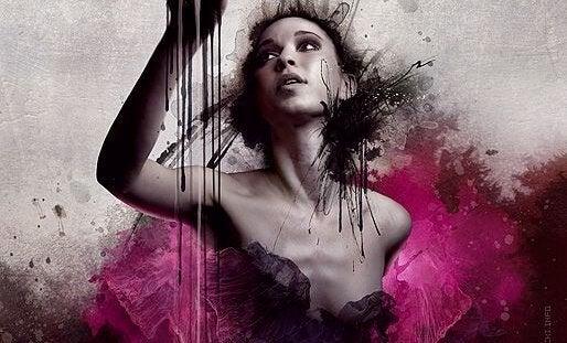 Et maleri av en kvinne i rosa.