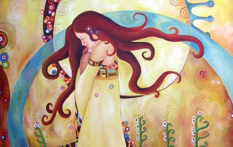Kvinne med lukkede øyne