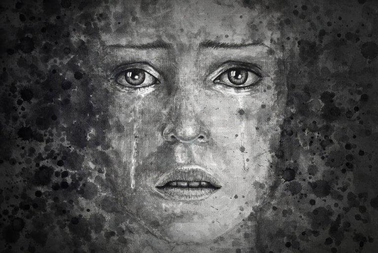 En kvinne med depresjon gråter